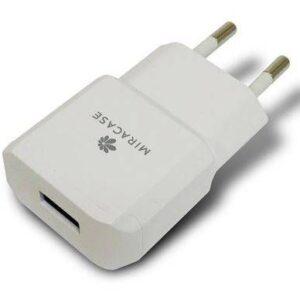 מטען קיר עם חיבור USB לבן